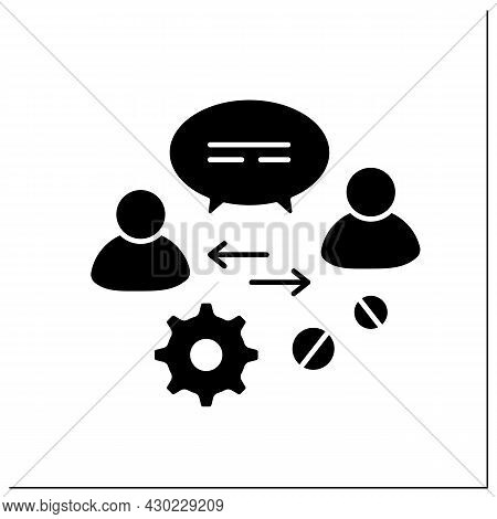 Communication Glyph Icon.advice And Support To Owners, Employees, Potential Clients. Discussion, Bus