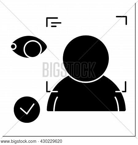 Facial Recognition Glyph Icon. Technology Identifying A Person From A Digital Image. Facial Recognit
