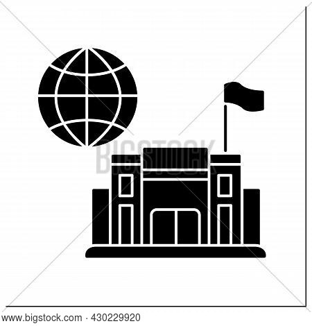 Consulate Glyph Icon. Office Or Consul Jurisdiction. Foreign Government. Diplomatic Mission. Embassy