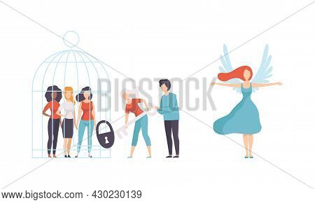 Woman Opening Cage With Key And Having Wings As Gender Equity Vector Set