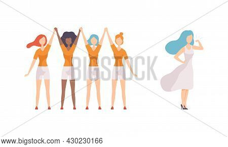 Woman Standing Together Holding Hands And Showing Muscle As Gender Equity Vector Set
