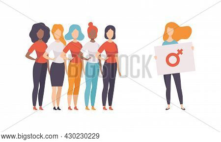 Woman Standing Together With Feminine Sign As Gender Equity Vector Set