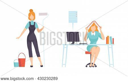 Work And Career With Woman Janitor With Mop And Bucket And Sitting At Office Desk Vector Set
