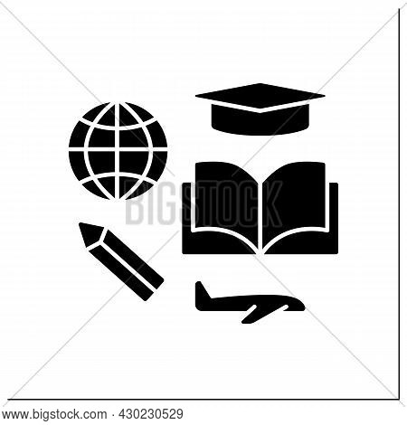 Study Glyph Icon. Student Visa To Study In Different States. Ability To Get Education Abroad. Embass