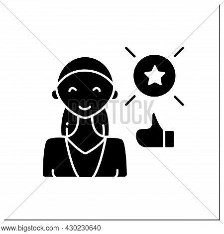 Success Woman Glyph Icon. Wealth Attainment, Favor, Or Eminence. Status Of Having Achieved And Accom