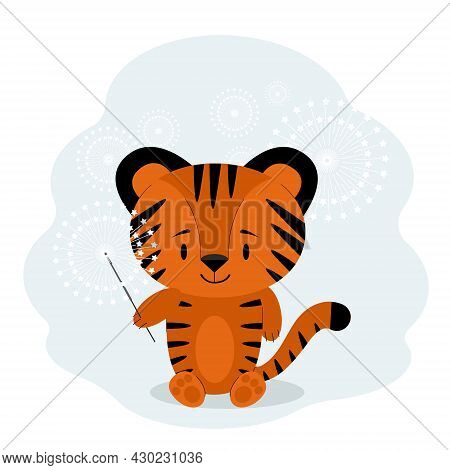 New Year 2022 Card With Tiger And Sparkler. Vector