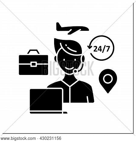 Travel Consultant Glyph Icon.business Arrangements. Information, Booking Services For People Wishing