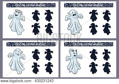 Find Correct Ghosts Shadow Educational Game For Kids. Shadow Matching Activity For Children With Gho