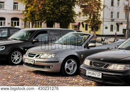 Chernigov, Ukraine - July 24, 2021: Saab 9-5 And Saab 9-3 Cabriolet In The City