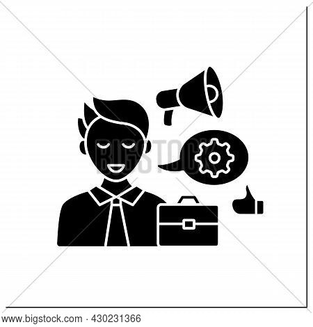 Industry Expert Influencer Glyph Icon.expert In Business World. Skilled At Industry Sector, Share In
