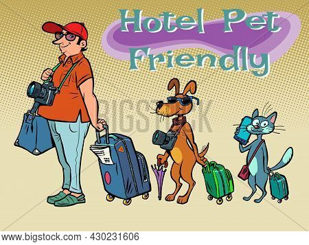 Pet Friendly Hotel. Recreation For Tourists With Animals. Travel And Tourism