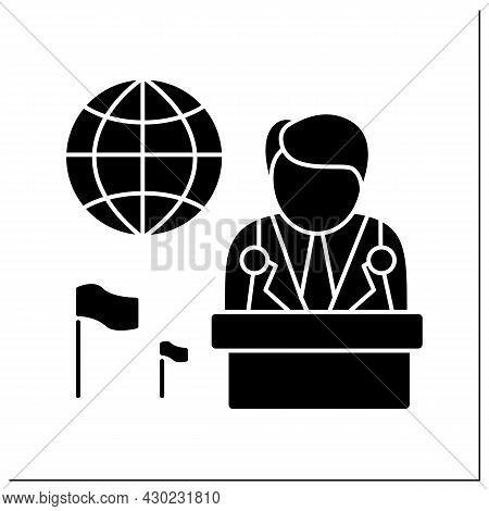 Ambassador Glyph Icon. Diplomatic State Representative In Foreign State Or Worldwide Organizations.