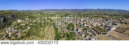 Panoramic View Of The City Of Sant Marti Sarroca, Catalonia Spain