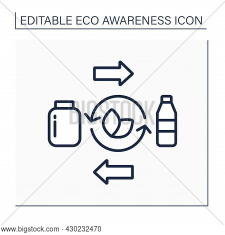 Reusable Tableware Line Icon. Recycling. Returnable Using Bottles, Jars, Containers. Reasonable Cons