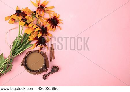 Autumn Flower Arrangement, Abstract Flat Lay Background With Place For Text, Minimal Holiday Concept