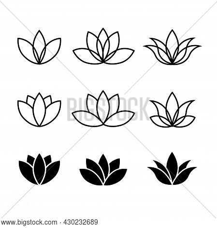 Set Of Lotuses. Collection Of Line Lotus Flowers
