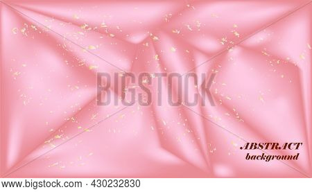 Pink Silk.abstract Background Imitating The Structure Of Silk With A Gold Crumb.