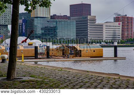 29 June 2021 Rotterdam; The Netherlands; Modern Architecture In The Port Of  Rotterdam, Located On T
