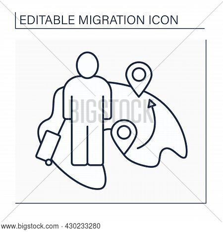 Internal Migration Line Icon.domestic Migration. Human Movements Within The Country. Travel For Trai