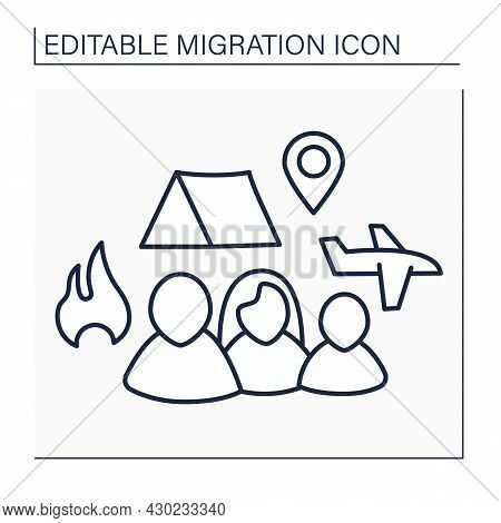 Refugees Line Icon. Forced Country Leaving. Family Escape From Bad Living Conditions. Living In Tent