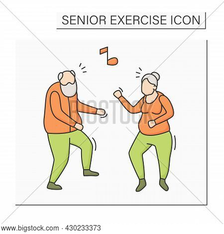 Dancing Color Icon. Physical Activity. Fun Time. Cardio Workout. Safety Training For Old People. Pre