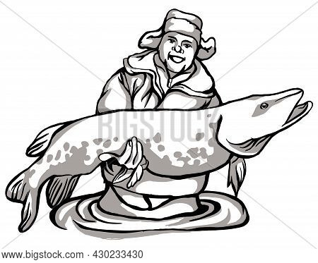 Fisherman Catches Fish, Fisherman With Catch, Black And White Drawing