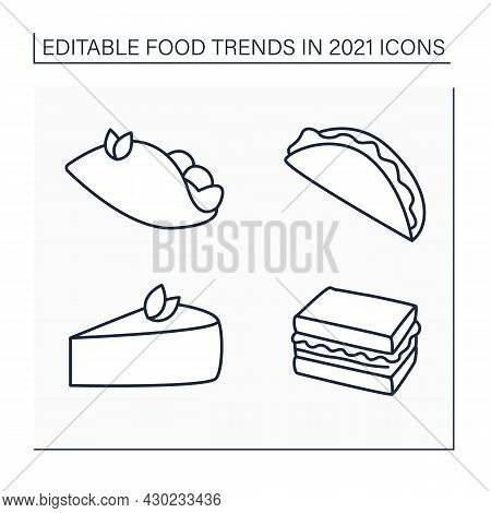 Food Trends Line Icons Set. Trendy Dishes. Tacos, Tender Cheesecake, Birria, Quesabirria, Sandos. Ne