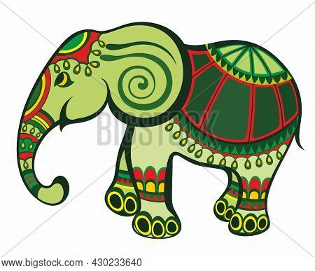 Vector Illustration Of A Tribal Totem Animal - Elephant - In Cartoon Style