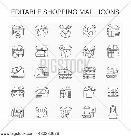 Shopping Mall Line Icons Set. Area Containing Shops And Restaurants. Entertainment Zone. Parking. Ma