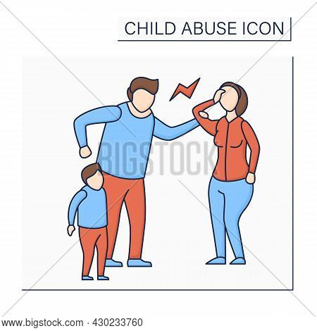Emotional Abuse Color Icon. Exposing Child To Violence Against Others. Serious Emotional Harm. Child