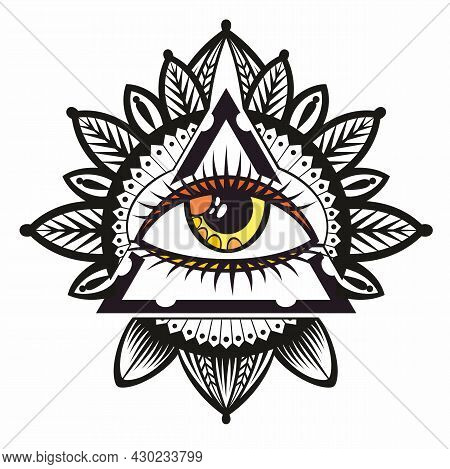 Blackwork Tattoo Flash. Eye Of Providence. Masonic Symbol.