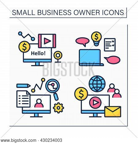 Small Business Owner Color Icons Set. Individual Entrepreneur.computer For Blogging. Coaching, Smm,