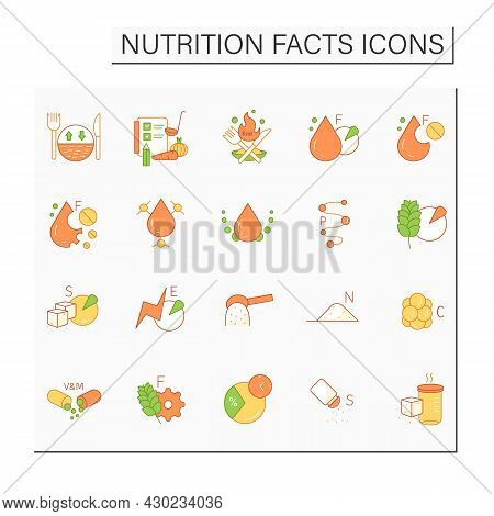 Nutrition Facts Color Icons Set. Nutrition Supplements.healthy, Balanced Eating. Fats, Carbs, Vitami