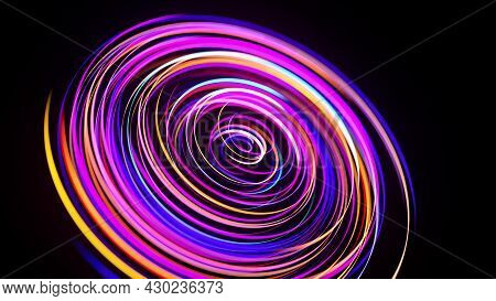 Motion Graphics, Sci-fi Bg. Stream Of Multicolor Neon Lines Form Spiral Shape, Curls And Pattern. Ab