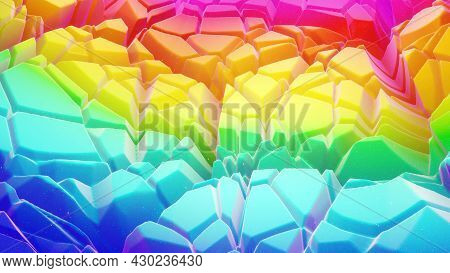 3d Rendering. Beautiful Abstract 3d Background With Gradient Rainbow Colors, Surface With Abstract W