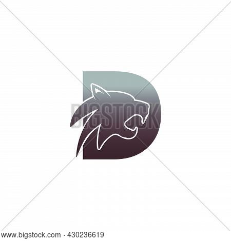 Letter D With Panther Head Icon Logo Vector Template