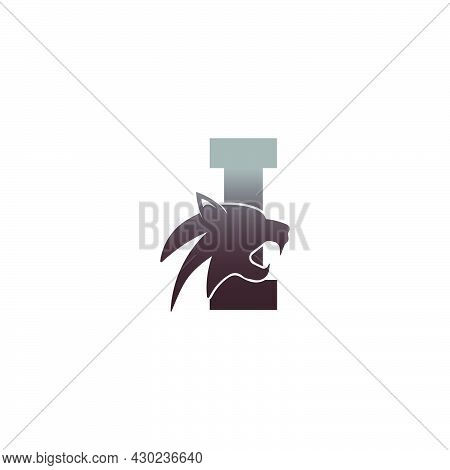Letter I With Panther Head Icon Logo Vector Template