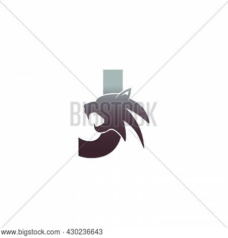 Letter J With Panther Head Icon Logo Vector Template