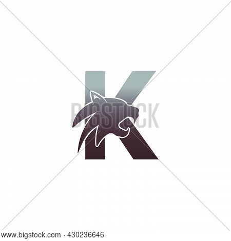 Letter K With Panther Head Icon Logo Vector Template