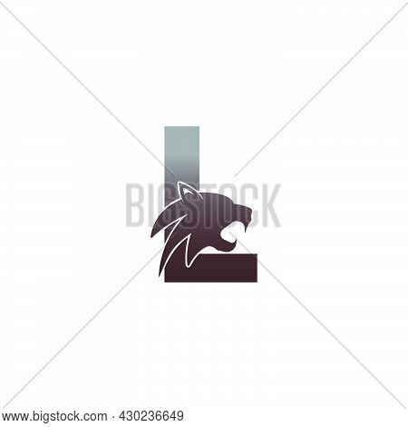 Letter L With Panther Head Icon Logo Vector Template
