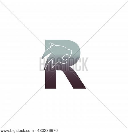 Letter R With Panther Head Icon Logo Vector Template