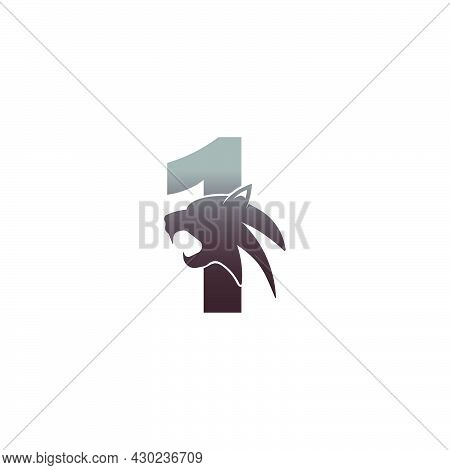 Number 1 With Panther Head Icon Logo Vector Template