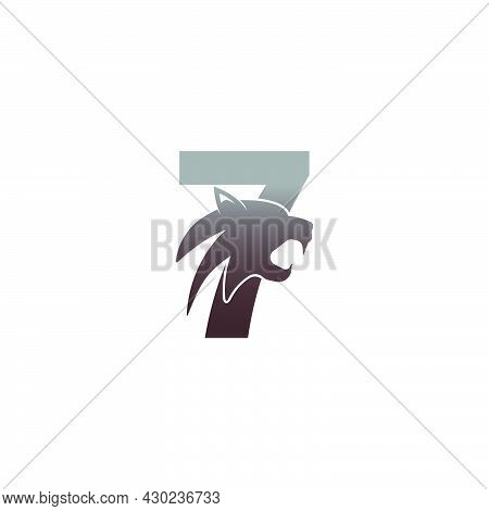 Number 7 With Panther Head Icon Logo Vector Template