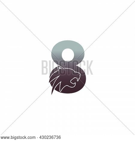 Number 8 With Panther Head Icon Logo Vector Template