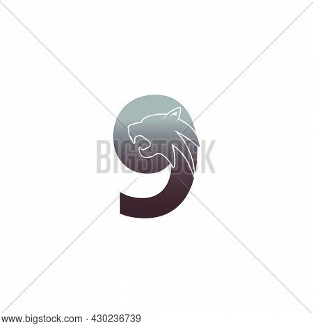 Number 9 With Panther Head Icon Logo Vector Template