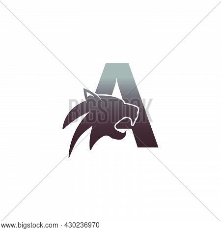 Letter A With Panther Head Icon Logo Vector Template