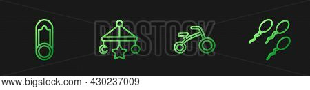 Set Line Bicycle For Kids, Baby Clothes Pin, Crib Hanging Toys And Sperm. Gradient Color Icons. Vect