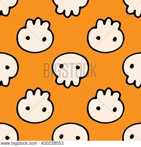 Seamless Pattern Of A Skull For Halloween. Vector Pattern Of A Cute White Skull Drawn In Doodle Styl
