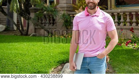 Man Purchasing House For Investment Purpose. Property Insurance Services. Ownership.