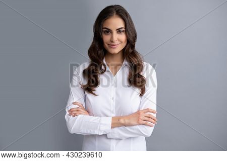 Happy Confident Business Woman Smile Holding Arms Crossed Grey Background, Confidence